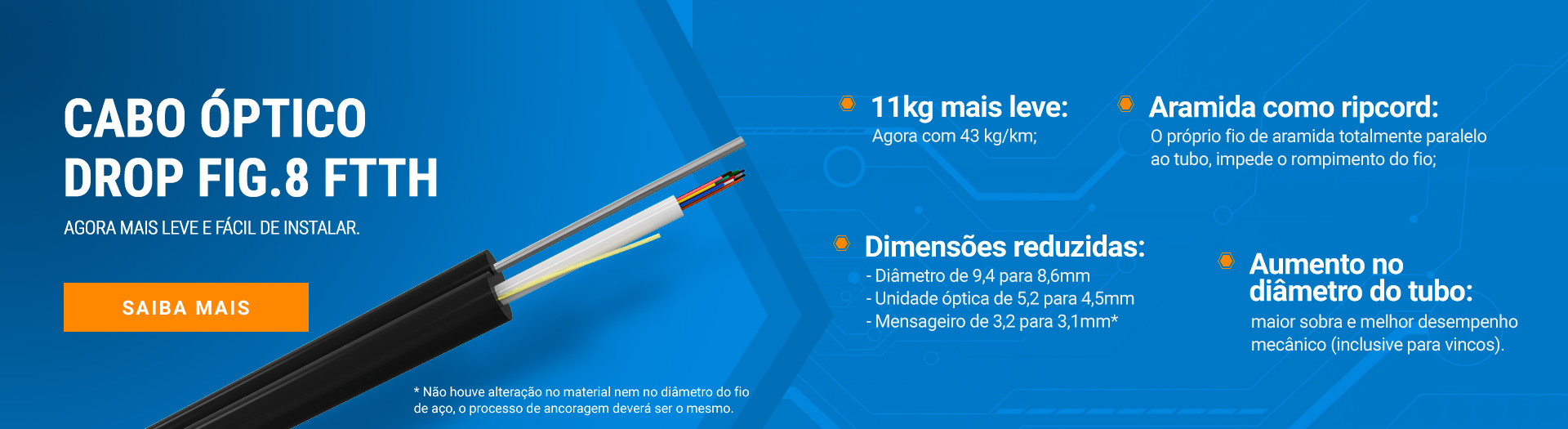 Cabo Óptico Drop FIG.8 FTTH